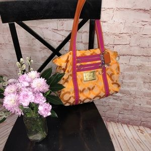 2010 coach poppy vibrant orange and pink handbag